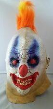 CLOWN Scary FAT FACE Latex Mask Fancy Dress Halloween Adult Horror Orange HAIR