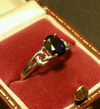 Fine Vintage Art-Deco 9CT W/Y Gold Celtic Blue Sapphire Solitaire Ring Size P1/2
