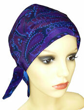 CHEMO HEAD WEAR,  PADDED HEAD SCARF, HATS,CAPS FOR HAIR LOSS.BLUE/PURPLE PAISLEY