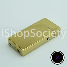 Electric Dual Arc Flameless Torch USB Rechargeable Windproof Lighter - GOLD