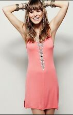 NWT  FREE PEOPLE slinky Mini tank slip dress CORAL SHOPBOP  XS