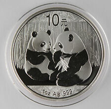 China 2009 1 Oz 999 Silver Panda 10 Yuan Coin GEM BU+ in Original Capsule