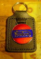 Norton Motorcycle, Leather Stiched Key Tag, Key Ring, Key Fob, UK Made. F/SH