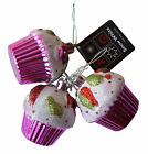 Cupcake Ornaments, Set of 3 Christmas Tree Glittery Decorations - Bright Pink