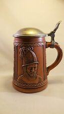 RARE VINTAGE GERZ W. GERMANY LIDDED BEER STEIN Soldier Helmet TAN BROWN Mug