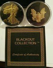 2016 American Eagle BLACKOUT Silver Dollar Ruthenium & 24K Gold ASE SAE w/ COA