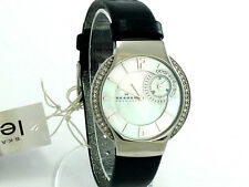 AUTHENTIC SKAGEN  BLACK LEATHER MOTHER of PEARL dial 810SSLB BRAND NEW MRP $155