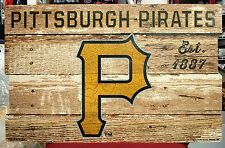 "PITTSBURGH PIRATES EST 1887 WOOD FENCE SIGN 19""X30'' BRAND NEW WINCRAFT"