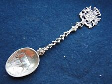 STERLING SILVER TEASPOON WITH A CREST FINIAL COW CHASING 1860 DUTCH CHASED