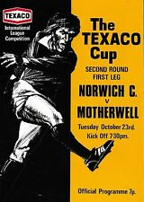 Football Programme NORWICH CITY v MOTHERWELL Oct 1973 Texaco Cup