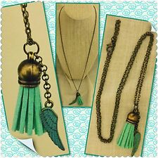 """BRASS ANGEL WING ESSENTIAL OIL TASSEL DIFFUSER NECKLACE YOUNG LIVING DOTERRA 24"""""""