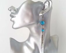 "Gorgeous 4"" long black hematite chain tassel & blue bead drop earrings - NEW"