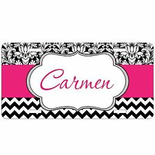 Personalized Monogrammed Car Tag License Plate Chevron Damask Hot Pink Monogram