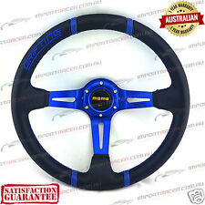 "14"" DEEP DISH DRIFT SPORTS STEERING WHEEL BLUE MOMO 1 Year Warranty"