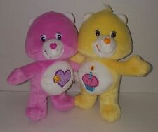 """Care Bears Cuddle Pair Hugging TAKE CARE AND BIRTHDAY  7"""" Retired 2003"""