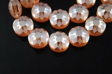 5pcs 14mm Round Discoid Faceted Crystal Glass Dull Polish Beads Gold Champagne