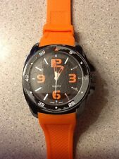 ALDO ORANGE MILITARY STYLE WATCH STAINLESS STEEL CASE BACK JAPAN MOVEMENT AL316W