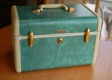 Vintage Samsonite Cosmetic Makeup Travel Train Vanity Case Green Marble w/ Tray