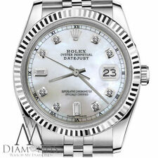 Rolex 26mm Datejust White Natural MOP Mother Of Pearl 6+9 Diamonds Track Watch