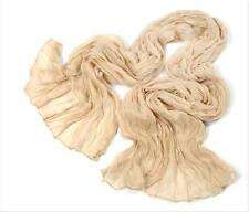CHIC Womens Candy Colors Soft Wrinkle Cotton Blend Girl Scarf Wrap Shawl beige