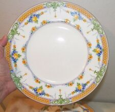 VINTAGE SET OF NINE (9) MINTON SELWYN HEAVY DINNER PLATES YELLOW BLUE GREEN 10""