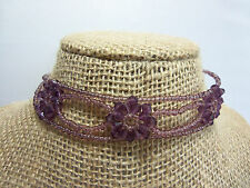 Adjustable Purple Seed Bead Choker Necklace w. Bicone Flower Design