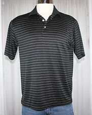 PGA Tour Golf Mens black 100% Polyester Short Sleeve Polo Shirt Medium M