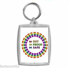 Gay Pride Keychain BE OUT BE PROUD BE SAFE - NEW