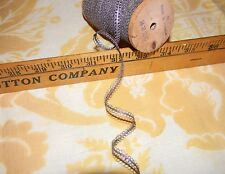 19th c Antique FRENCH Pewter Metallic LACE DOUBLE LOOPED lamps,dolls,costume 3yd