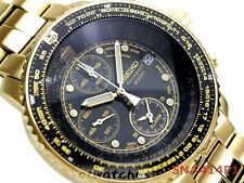 SEIKO MENS WATCH FLIGHTMASTER CHRONOGRAPH ALARM 200M SNA414P1 BLACKx GOLD SNA414