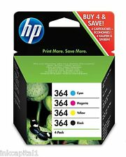 No 364 Set of 4 Original OEM Inkjet Cartridges For HP Photosmart B210a