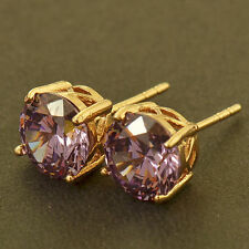 Pretty New Yellow Gold Filled Round 4 Prong 8mm Amethyst Purple CZ Stud Earrings