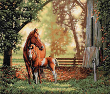 Cross Stitch Kit Gold Collection Mare and Foal, Mother & Baby Horses #35260