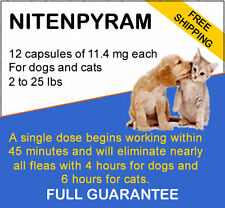 12 Generic Flea Killer Nitenpyram for Dogs/Cats 2-25 lbs 11.4 mg