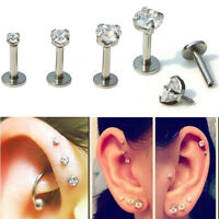 "1x 16G 1/4"" 2/3/4mm CZ Gem Round Tragus Lip Ring Monroe Ear Cartilage Studs Punk"