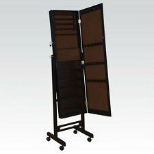 Espresso Tall Jewelry Armoire Large Mirrored Door Standing Armoire