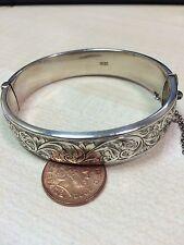 English Vintage Sterling Silver Patterned Bangle