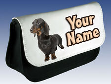 DACHSHUND DOG PERSONALISED MAKE UP BAG / PENCIL CASE - GREAT NAMED GIFT !!