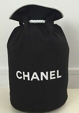 Chanel Vip Black Canvas Drawstring Vinyl Logo Small Travel Bucket Toiletries Bag
