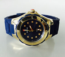 NWT MICHELE Womens WATCH Small 30mm Jelly Bean Navy Blue Gold TOPAZ MWW12P000004