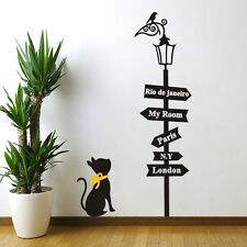 New A Black Cat and Road Sign Lamp Wall Sticker Vinyl Art Home Wall Decal/Decor