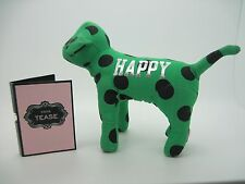 Victoria's Secret PINK HAPPY Green Dot Stuffed Dog + Perfume Sample NOIR TEASE