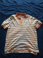 Locoste Men's Polo Size 5 Orange/white/blue