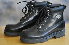 HARLEY DAVIDSON Sz 7 M Black Lace Up Ankle Motorcycle Boots Leather Upper