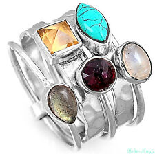 Stacking Sterling Silver Ring 925 Solid Turquoise Topaz Gemstone Genuine Band