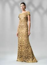 NWT Tadashi Shoji Lace Corded Embroidery Tulle Cap Sleeve Gold Dress Gown Sz 8