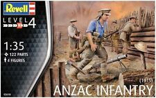 WWI Anzac Infantry 122 Part- 4 Figures  - Revell Miniatures - 1/35 Scale - 02618