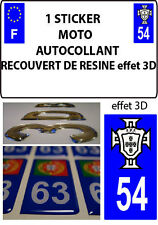 1 sticker plaque immatriculation MOTO TUNING 3D RESINE  FPF PORTUGAL DEPA 54