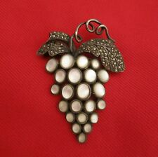 Vintage Sterling Marcasite & Mother of Pearl Moonstone Vine Grapes Pin Brooch