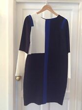 MARKS & SPENCER  Black , Royal Blue & White Block Print Dress. SIZE 14